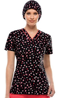 Fashion Prints by  Dickies Women's V-Neck Geometric Print Scrub Top