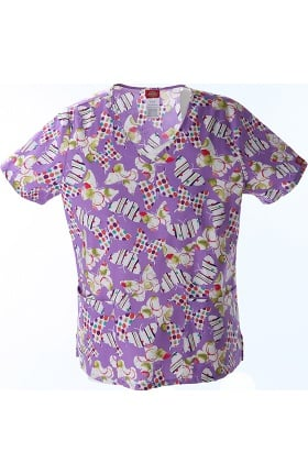 Clearance Fashion Prints by Dickies Women's V-Neck Butterfly Print Scrub Top