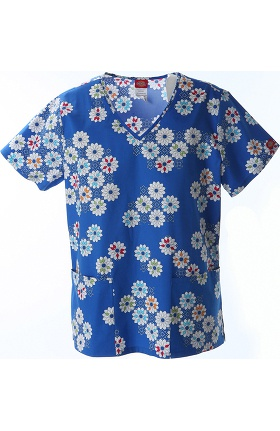 Clearance Fashion Prints by Dickies Women's V-Neck Flower Print Scrub Top