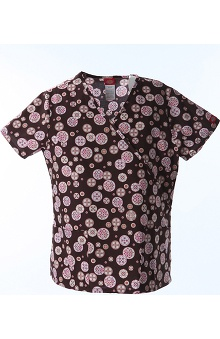 Clearance Fashion Prints by Dickies Women's Mock Wrap Geometric Print Scrub Top