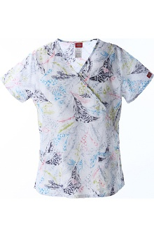 Clearance Fashion Theather Prints by Dickies Women's Mock Wrap Print Scrub Top