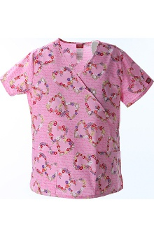 Clearance Fashion Prints by Dickies Women's Mock Wrap Heart Print Scrub Top