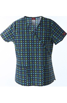 Clearance Fashion Geometric Prints by Dickies Women's Mock Wrap Print Scrub Top
