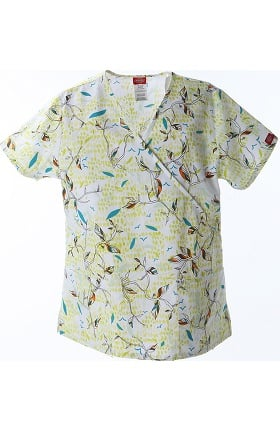 Clearance Fashion Prints by Dickies Women's Mock Wrap Botanical Print Scrub Top