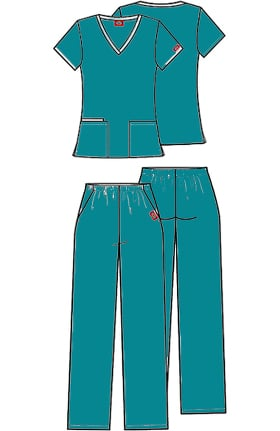Clearance Dickies Women's V-Neck & Pull On Pant Scrub Set