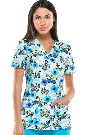 Clearance Everyday Scrubs Signature By Dickies Women's V-Neck Butterfly Print Scrub Top