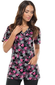 Breast Cancer Awareness by Dickies Women's EDS V-Neck Ribbon Print Scrub Top