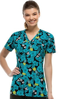 Fashion Prints by  Dickies Women's V-Neck Pineapple Paradise Print Scrub Top