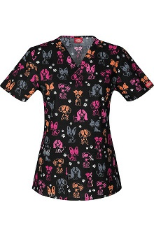 Clearance Everyday Scrubs Signature by Dickies Women's V-Neck Paw Print Scrub Top