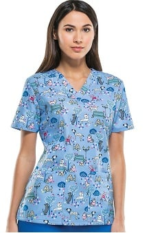 Everyday Scrubs Signature By Dickies Women's V-Neck Dog Print Scrub Top