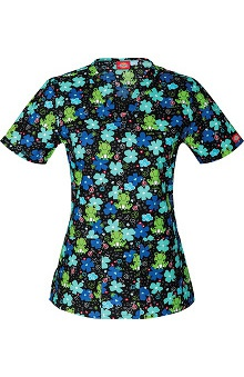 Clearance Everyday Scrubs Signature by Dickies Women's V-Neck Frog Print Scrub Top