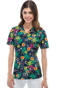Fashion Prints by  Dickies Women's EDS V-Neck Jungle Print Scrub Top