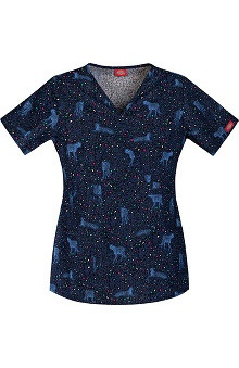 Clearance Everyday Scrubs Signature by Dickies Women's Mock Wrap Cat Print Scrub Top
