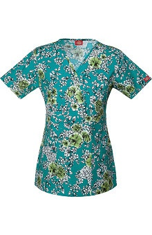 Clearance Everyday Scrubs Signature by Dickies Women's Mock Wrap Flower Print Scrub Top