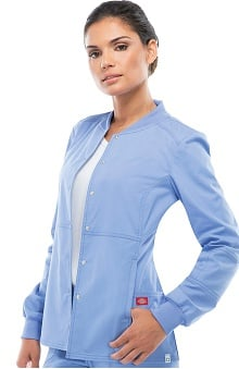Clearance Everyday Scrubs Signature Stretch by Dickies With Antimicrobial Certainty Women's Snap Front Warm-Up Scrub Jacket