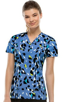 Fashion Prints by Dickies Women's V-Neck Kitten Print Scrub Top
