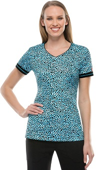 Fashion Prints by Dickies Women's V-Neck Dot Print Scrub Top