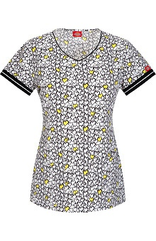 Clearance Fashion Prints by Dickies Women's V-Neck Heart Print Scrub Top