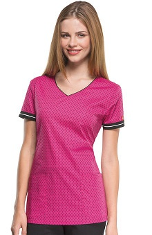 Fashion Prints by Dickies Women's V-Neck Diamond Print Scrub Top