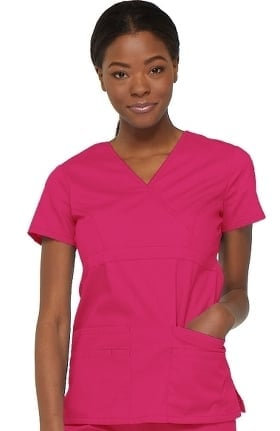 Everyday Scrubs Signature by Dickies Women's Empire Waist Mock Wrap Solid Scrub Top