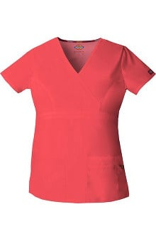 Clearance Everyday Scrubs Signature by Dickies Women's Empire Waist Mock Wrap Solid Scrub Top
