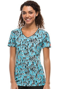 Clearance Fashion Prints by Dickies Women's V-Neck Penguin Print Scrub Top