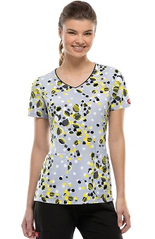 Fashion Prints by Dickies Women's V-Neck Leaves Print Scrub Top