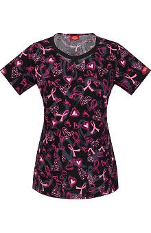 Breast Cancer Awareness by  Dickies Women's Round Neck Ribbon Print Scrub Top