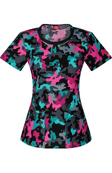 Everyday Scrubs Signature by Dickies Women's Round Neck Camo Print Scrub Top