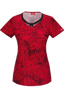 Fashion Prints by  Dickies Women's Round Neck Animal Heart Print Scrub Top