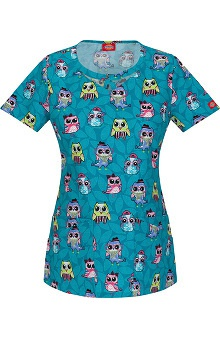 Clearance Fashion Prints by Dickies Women's Round Neck Owl Print Scrub Top