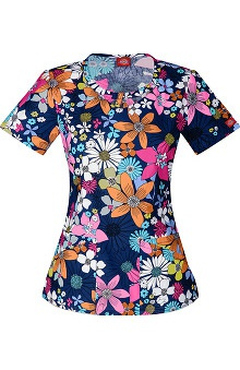 Clearance Everyday Scrubs Signature by Dickies Women's Round Neck Floral Print Scrub Top