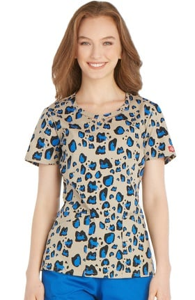 Clearance Everyday Scrubs Signature by Dickies Women's Round Neck Animal Print Scrub Top