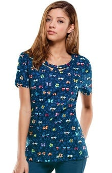 Clearance Everyday Scrubs Signature By Dickies Women's Round Neck Butterfly Print Scrub Top