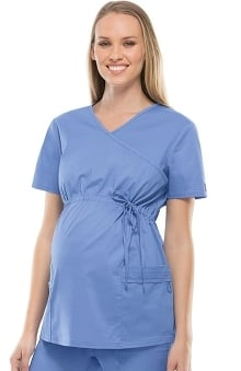 0222c566d8d Clearance Gen Flex by Dickies Women's Maternity Mock Wrap Solid Scrub Top