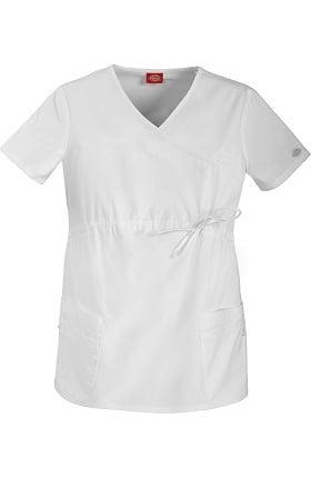 Clearance Gen Flex by Dickies Women's Maternity Mock Wrap Solid Scrub Top