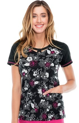 Clearance Gen Flex by Dickies Women's Round Neck Floral Print Scrub Top