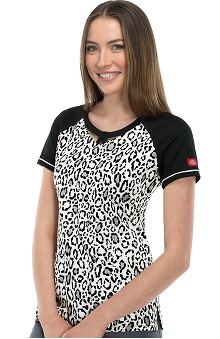 Gen Flex by Dickies Women's Round Neck Animal Print Scrub Top