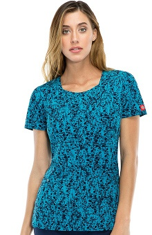 Fashion Prints by  Dickies Women's Mock Wrap Abstract Print Scrub Top