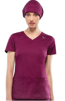 Clearance Everyday Scrubs Signature Stretch by Dickies With Antimicrobial Certainty Women's V-Neck Scrub Top