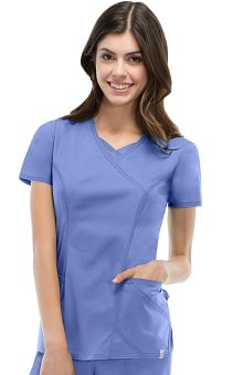 Clearance Everyday Scrubs Signature Stretch by Dickies With Certainty Antimicrobial Fabric Technology Women's Mock Wrap Scrub Top