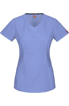 Everyday Scrubs Signature Stretch by Dickies With Antimicrobial Certainty Women's Mock Wrap Scrub Top