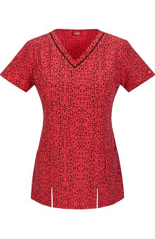 Fashion Prints by  Dickies Women's V-Neck Fractured Geo Print Scrub Top
