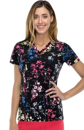 Clearance Fashion Prints by Dickies Women's V-Neck Grow on You Print Scrub Top