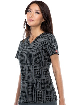 Fashion Prints by  Dickies Women's V-Neck Plaid Print Scrub Top
