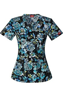 Evolution NXT by Dickies Women's Mock Wrap Floral Print Scrub Top