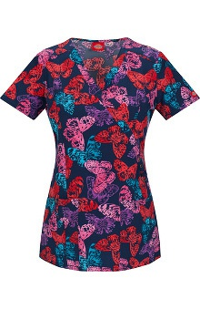 Fashion Prints by  Dickies Women's Mock Wrap Butterfly Print Scrub Top