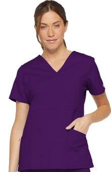 Clearance Everyday Scrubs Signature by Dickies Women's Mock Wrap Solid Scrub Top