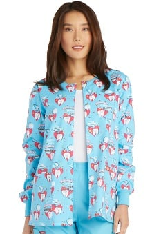 Everyday Scrubs Signature by Dickies Women's Snap Front Dental Print Warm-Up Scrub Jacket