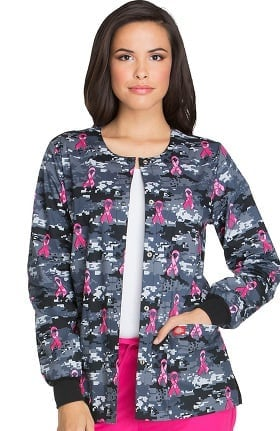 Breast Cancer Awareness by Dickies Women's Snap Front Camo Print Warm-Up Scrub Jacket